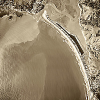 historical aerial photograph of Stinson Beach, Bolinas and the Bolinas Bay and Bolinas Lagoon, Marin County, California, 1982