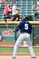 Austin Wates (5) of the New Orleans Zephyrs at bat against the Salt Lake Bees in Pacific Coast League action at Smith's Ballpark on August 27, 2014 in Salt Lake City, Utah.  (Stephen Smith/Four Seam Images)