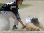(060615 Bridgewater) West Bridgewater, 9, Rob Byrnes, back in  cloud of dust as Williams first basemen, 12, Eric Keefe, applies the tag,  picked off by the catcher Casey Earle, in the fourth inning, Saturday, June 6, 2015, in Bridgewater. Herald Photo by Jim Michaud