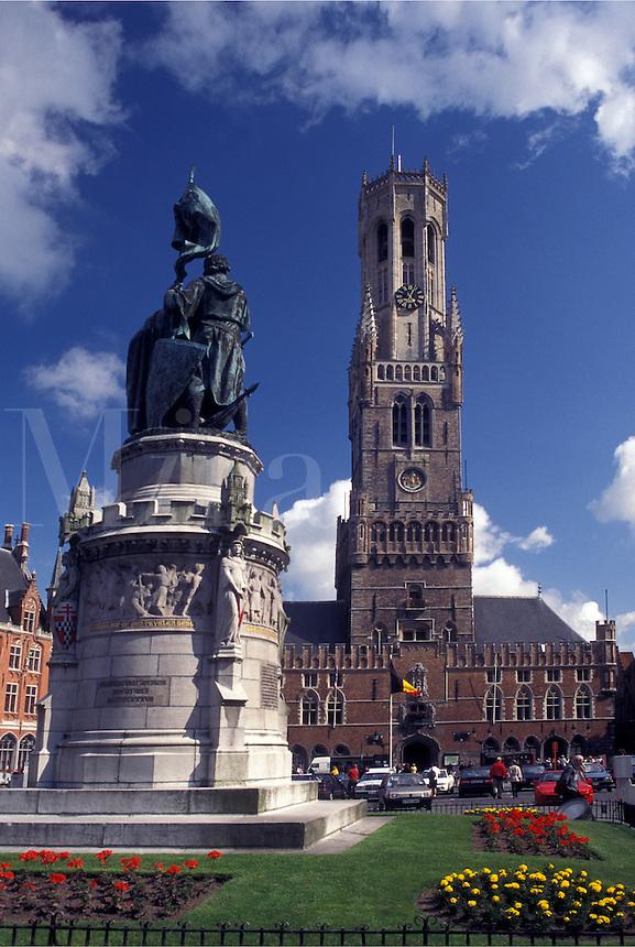 Brugge, Belgium, Bruges, West-Vlaanderen, Europe, Monument outside the Belfry (Belfort) at Markt in downtown Bruges.