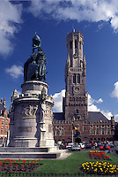 Brugge, Belgium, Bruges, West-Vlaanderen, Europe, Monument outside the Belfry (Belfort) at Markt in downtown Bruges.