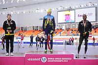 SPEEDSKATING: SOCHI: Adler Arena, 22-03-2013, Essent ISU World Championship Single Distances, Day 2, podium 1000m Men, Tae-Bum Mo (KOR), Denis Kuzin (KAZ), Shani Davis (USA), © Martin de Jong