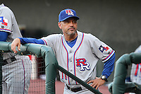 Round Rock Express coach Spike Owen #11 during a game versus the Memphis Redbirds at Autozone Park on April 28, 2011 in Memphis, Tennessee.  Memphis defeated Round Rock by the score of 6-5 in ten innings.  Photo By Mike Janes/Four Seam Images