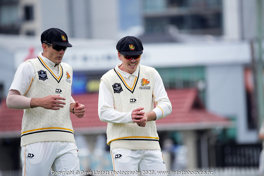 Hamish Bennett and Michael Bracewell during day one of the Plunket Shield match between the Wellington Firebirds and Otago at Basin Reserve in Wellington, New Zealand on Thursday, 5 November 2020. Photo: Dave Lintott / lintottphoto.co.nz