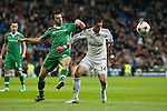 Chicharrito of Real Madrid and Dyakov of Ludogorets during Champions League match between Real Madrid and Ludogorets at Santiago Bernabeu Stadium in Madrid, Spain. December 09, 2014. (ALTERPHOTOS/Luis Fernandez)