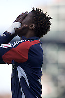 New England Revolution defender Emmanuel Osei (5) celebrates his goal. The New England Revolution out scored the Chicago Fire, 2-1, in Game 1 of the Eastern Conference Semifinal Series at Gillette Stadium on November 1, 2009.