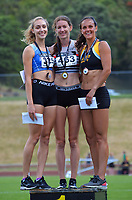 Women's 800m podium, from left: Sophie Atkinson (2), Katherine Camp (1) and Rebekah Greene (3). 2021 Capital Classic athletics at Newtown Park in Wellington, New Zealand on Saturday, 20 February 2021. Photo: Dave Lintott / lintottphoto.co.nz
