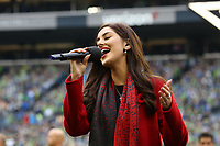 SEATTLE, WA - NOVEMBER 10: Natasha Zimbaro sings O Canada, the Canadian national anthem, during a game between Toronto FC and Seattle Sounders FC at CenturyLink Field on November 10, 2019 in Seattle, Washington.