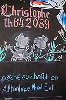 Europe/France/Normandie/76/Seine Maritime/ Le Havre : Marché au Poisson - Indication de l'Origine de la pêche // Europe / France / Normandy / 76 / Seine Maritime / Le Havre: Fish Market - Indication of the Origin of the fishery