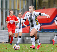 Megane Vos (20 Charleroi) in action during a female soccer game between FC Femina White Star Woluwe and Sporting Charleroi on the 10 th matchday of the 2020 - 2021 season of Belgian Scooore Womens Super League , Saturday 19 th of December 2020  in Woluwe , Belgium . PHOTO SPORTPIX.BE | SPP | SEVIL OKTEM