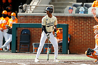 Vanderbilt Commodores center fielder Enrique Bradfield Jr. at bat against the Tennessee Volunteers on Robert M. Lindsay Field at Lindsey Nelson Stadium on April 17, 2021, in Knoxville, Tennessee. (Danny Parker/Four Seam Images)