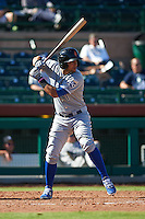 Surprise Saguaros shortstop Ramon Torres (1) at bat during an Arizona Fall League game against the Scottsdale Scorpions on October 22, 2015 at Scottsdale Stadium in Scottsdale, Arizona.  Surprise defeated Scottsdale 7-6.  (Mike Janes/Four Seam Images)