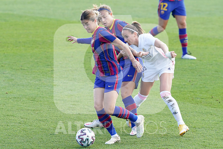 First official match and first classic in the history of women's Real Madrid.<br /> Real Madrid's Kosovare Asllani (r) and FC Barcelona's Alexia Putellas (c) and Mapi Leon during Spanish Female League match. October 4,2020. (ALTERPHOTOS/Acero)