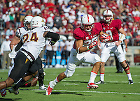 STANFORD, CA - September 21, 2013:  The Stanford Cardinal running back Tyler Gaffney (25) during the Stanford Cardinal vs the Arizona State Sun Devils at Stanford Stadium in Stanford, CA. Final score Stanford Cardinal 42, Arizona State Sun Devils 28.