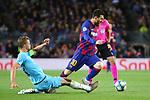 UEFA Champions League 2019/2020.<br /> Matchday 4.<br /> FC Barcelona vs SK Slavia Praha: 0-0.<br /> Tomas Soucek vs Lionel Messi.