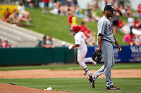 Trevor Reckling (30) of the Arkansas Travelers reacts after Niko Vasquez (7) of the Springfield Cardinals hit a home run during a game against the Springfield Cardinals on May 10, 2011 at Hammons Field in Springfield, Missouri.  Photo By David Welker/Four Seam Images.