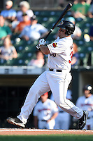 Rochester Red Wings first baseman Brad Nelson (30) at bat during the second game of a doubleheader against the Buffalo Bisons on July 6, 2014 at Frontier Field in Rochester, New  York.  Rochester defeated Buffalo 6-1.  (Mike Janes/Four Seam Images)
