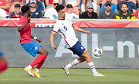 SANDY, UT - JUNE 10: Antonee Robinson #5 of the United States chases down a loose ball during a game between Costa Rica and USMNT at Rio Tinto Stadium on June 10, 2021 in Sandy, Utah.