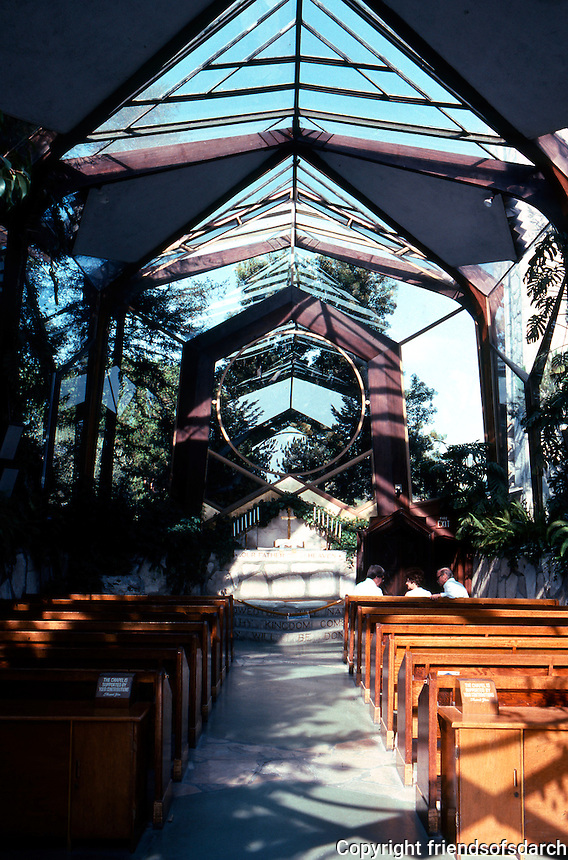 Lloyd Wright: Wayfarer's Chapel--Interior.  Photo '82.
