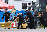 Sep 1, 2017; Clermont, IN, USA; NHRA top fuel driver Leah Pritchett and crew members during qualifying for the US Nationals at Lucas Oil Raceway. Mandatory Credit: Mark J. Rebilas-USA TODAY Sports