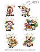 Interlitho-Theresa, CHRISTMAS ANIMALS, WEIHNACHTEN TIERE, NAVIDAD ANIMALES, paintings+++++,6 reindeer,KL6211,#xa# ,sticker,stickers