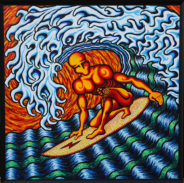 March. 17, 2021. Vista. USA  Tubed Surfer. acrylic on board, 4' X 4'. 2021. Part of the Surfing series. Painted by: Jamie Scott Lytle  photo: Jamie Scott Lytle. Copyright.