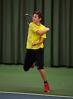 Rotterdam, The Netherlands, 07.03.2014. NOJK ,National Indoor Juniors Championships of 2014, 12and 16 years, Thijmen Loof (NED)<br /> Photo:Tennisimages/Henk Koster