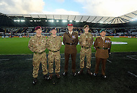 Sunday 09 November 2014 <br /> Pictured: members of the armed forces<br /> Re: Barclays Premier League, Swansea City FC v Arsenal City at the Liberty Stadium, Swansea, Great Britain.