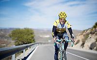 Kevin De Weert (BEL/LottoJumbo) putting in a grand uphill effort<br /> <br /> Team Lotto Jumbo winter training camp<br /> Mojácar, Spain, January 2015