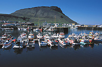 harbor with boats, Olafsvik fishing port, Iceland..