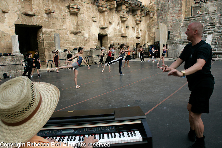 Dancers of Royal Ballet Covent Garden in class at the Aspendos Theatre, Antalya, Turkey