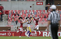 Arkansas defensive backs Hudson Clark (17) and Montaric Brown (21) cover a pass intended for LSU wide receiver Kayshon Boutte (1), Saturday, November 21, 2020 during the second quarter of a football game at Donald W. Reynolds Razorback Stadium in Fayetteville. Check out nwaonline.com/201122Daily/ for today's photo gallery. <br /> (NWA Democrat-Gazette/Charlie Kaijo)