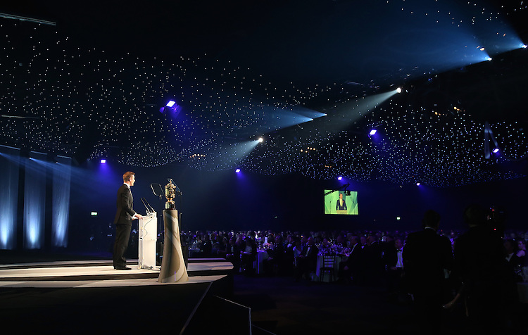 LONDON, ENGLAND - NOVEMBER 01:  Host Alex Payne addresses the guests during the World Rugby Awards 2015 at Battersea Evolution on November 1, 2015 in London, England.   (Photo: World Rugby)