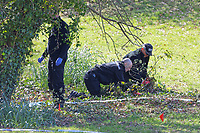Pictured: Police forensics officers at Ystrad Mynach Park in south Wales, UK. Saturday 13 April 2019<br /> Re: A 13-year-old boy, named locally as Carson Price,  has died after being found unconscious in Ystrad Mynach Park, Caerphilly County, at about 7.20pm on Friday 12 April.<br /> The teen was taken to University Hospital of Wales in Cardiff where he was pronounced dead.