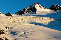 The Worthington Glacier State Recreation Site in the Chugach Mountains and Chugach National Forest is viewable from the Richardson Highway as the highway passes over Thompson Pass on the way to Valdez, Alaska.