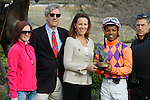 #6 Euphrosyne owners and jockey Ricardo Santana, Jr. after the running of the Honeybee Stakes (Grade III) at Oaklawn Park in Hot Springs, Arkansas-USA on March 8, 2014. (Credit Image: © Justin Manning/Eclipse/ZUMAPRESS.com)