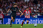 Angel Correa (r) of Atletico de Madrid is followed by Marcos Alonso of Chelsea FC during the UEFA Champions League 2017-18 match between Atletico de Madrid and Chelsea FC at the Wanda Metropolitano on 27 September 2017, in Madrid, Spain. Photo by Diego Gonzalez / Power Sport Images