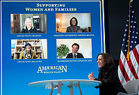 United States Vice President Kamala Harris meets with women leaders in Congress and advocacy organizations on the American Rescue Plan, during a virtual roundtable on the American Rescue Plan, at the Eisenhower Executive Office Building in Washington, DC on Thursday, February 18, 2021. The Rescue Plan includes direct payments to those in need, money to help reopen schools and extended unemployment benefits. Photo by Kevin Dietsch/UPI<br /> Credit: Kevin Dietsch / Pool via CNP /MediaPunch