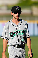 Dayton Dragons outfielder Mitch Piatnik (16) in the outfield before a game against the Lansing Lugnuts at Cooley Law School Stadium on August 10, 2018 in Lansing, Michigan . Lansing defeated Dayton 11-4.  (Robert Gurganus/Four Seam Images)