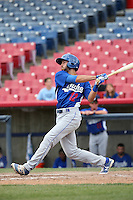Michael Ahmed (12) of the Rancho Cucamonga Quakes bats against the High Desert Mavericks at Heritage Field on May 8, 2016 in Adelanto, California. Rancho Cucamonga defeated High Desert, 11-5. (Larry Goren/Four Seam Images)