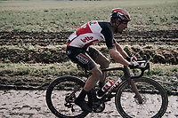 Last Roubaix winner (2,5 yrs earlier in 2019) Philippe Gilbert (BEL/Lotto Soudal)<br /> <br /> 118th Paris-Roubaix 2021 (1.UWT)<br /> One day race from Compiègne to Roubaix (FRA) (257.7km)<br /> <br /> ©kramon