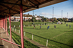 Harwich & Parkeston 2 Barnston 0, 11/11/2017. Royal Oak Ground, Andreas Carter Essex & Suffolk Border League Premier Division. Harwich & Parkeston reached the final of the Amateur Cup in 1953 at Wembley Stadium and played in front of a crowd of 100,000. <br /> Harwich & Parkeston's Matt Geen on the ball. Photo by Simon Gill.
