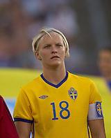 Sweden midfielder Nilla Fischer (18). The US Women's national team beat Sweden, 3-0, at Rentschler Field on July 17, 2010.