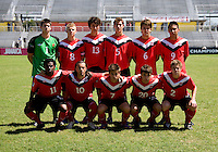 Canada lines up during the quarterfinals of the CONCACAF Men's Under 17 Championship at Catherine Hall Stadium in Montego Bay, Jamaica. Canada defeated Trinidad & Tobago, 2-0.