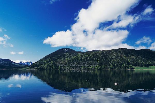 Lake of Aegeri and swiss alps, Oberaegeri, Zug, Switzerland