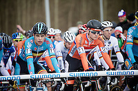 Mathieu Van der Poel (NLD) Wout Van Aert (BEL) on the start line<br /> <br /> next to Elite Men's race<br /> <br /> 2015 UCI World Championships Cyclocross <br /> Tabor, Czech Republic