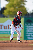 Batavia Muckdogs right fielder Harrison White (40) leads off second base during a game against the Lowell Spinners on July 11, 2017 at Dwyer Stadium in Batavia, New York.  Lowell defeated Batavia 5-2.  (Mike Janes/Four Seam Images)