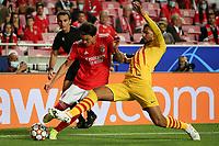 29th September 2021: Estadio da Luz, Lisbon, Portugal;  UEFA Champions league group E,  S.L.Benfica versus Barcelona; Darwin Nunez S.L.Benfica tackled by Ronald Araujo FC Barcelona