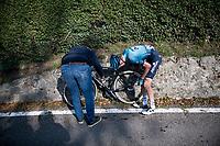 Aleksandr Vlasov (RUS/Astana - Premier Tech) crashed descending the Passo di Ganda<br /> <br /> 115th Il Lombardia 2021 (1.UWT)<br /> One day race from Como to Bergamo (ITA/239km)<br /> <br /> ©kramon