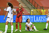 Jassina Blom (3) of Belgium pictured celebrating after scoring a goal during a female soccer game between the national teams of Belgium , called the Red Flames and Albania in the second game in the qualification for the  FIFA Women's World Cup in group F , on tuesday 21 st of September 2021  in Brussels , Belgium . PHOTO SPORTPIX